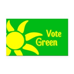 Yellow Sun Vote Green Rectangle Car Magnet