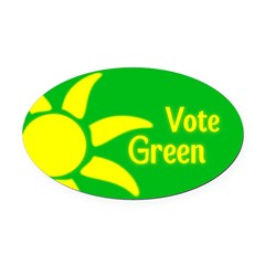 Yellow Sun Vote Green Oval Car Magnet