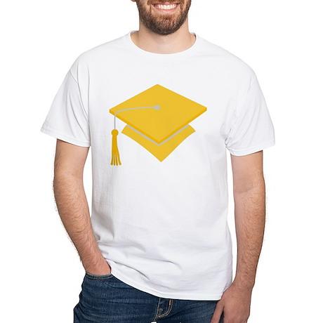 Gold Grad Hat Gift White T-Shirt