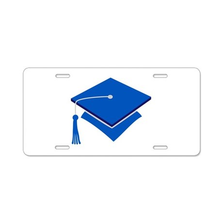 Blue Grad Hat Gift Aluminum License Plate