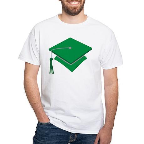 Green Grad Hat Gift White T-Shirt