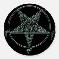 Baphomet-black-background.png Round Car Magnet
