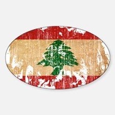 Lebanon Flag Sticker (Oval)