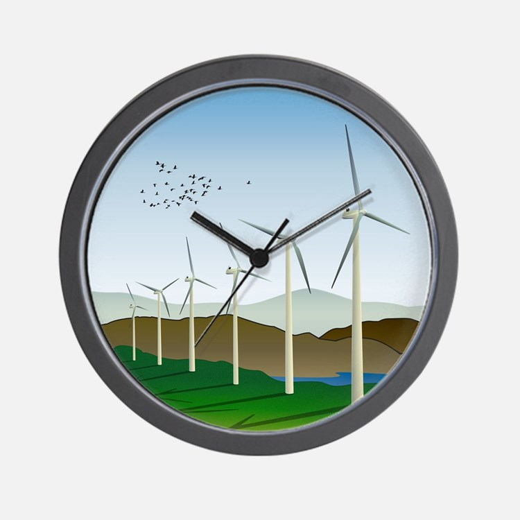 Wind Turbines Wall Clock
