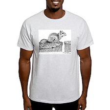 Chipmunk Pen and Ink Ash Grey T-Shirt