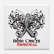 Butterfly Brain Cancer Tile Coaster