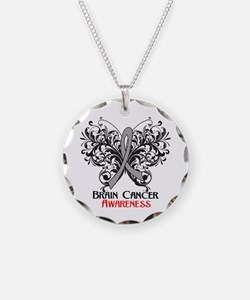 Butterfly Brain Cancer Necklace Circle Charm