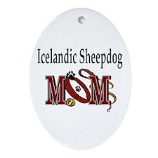 Icelandic Sheepdog Mom Oval Ornament