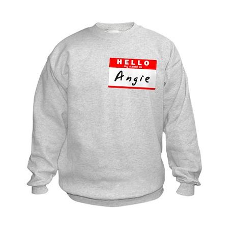 Angie, Name Tag Sticker Kids Sweatshirt