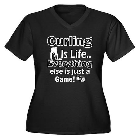 Curling Is Life Designs Women's Plus Size V-Neck D
