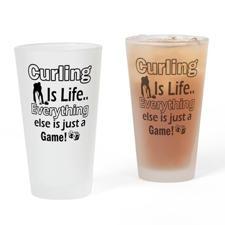 Curling Is Life Designs Drinking Glass