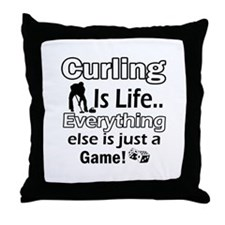 Curling Is Life Designs Throw Pillow