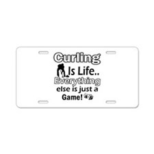 Curling Is Life Designs Aluminum License Plate