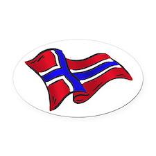 Norwegian flag of Norway Oval Car Magnet