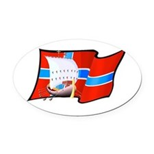 Norge Viking Ship Oval Car Magnet