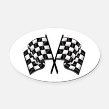 Chequered Flag Oval Car Magnet