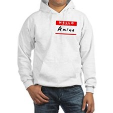 Amina, Name Tag Sticker Jumper Hoody