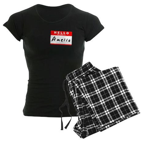 Amelia, Name Tag Sticker Women's Dark Pajamas