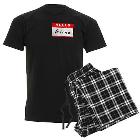 Alina, Name Tag Sticker Men's Dark Pajamas