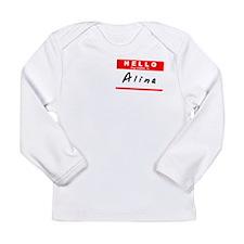 Alina, Name Tag Sticker Long Sleeve Infant T-Shirt