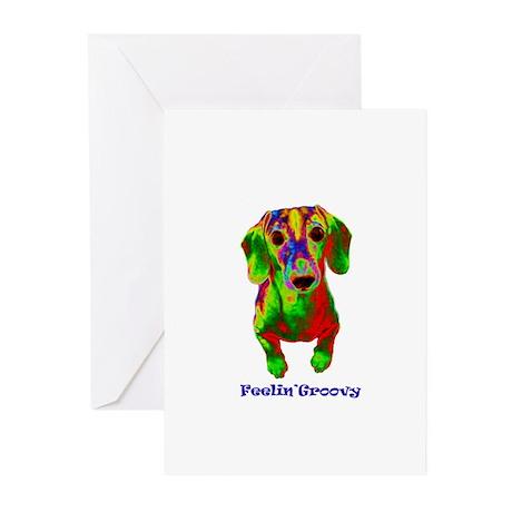 feelin groovy dachshund copy.jpg Greeting Cards (P