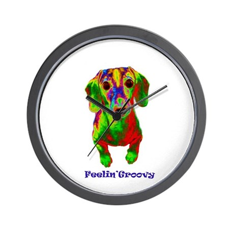 feelin groovy dachshund copy.jpg Wall Clock