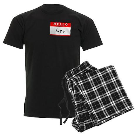 Leo, Name Tag Sticker Men's Dark Pajamas