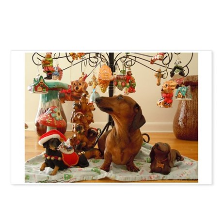 Christmas Dachshund (Ver 2) Postcards (Pack of 8)
