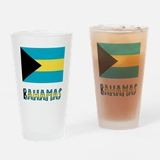 Bahamas Flag & Word Drinking Glass