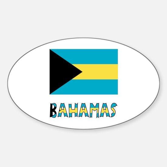 Bahamas Flag Word Sticker (Oval)