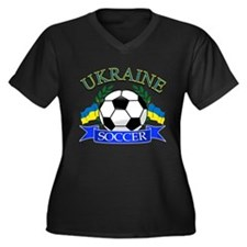 Ukraine Soccer Designs Women's Plus Size V-Neck Da