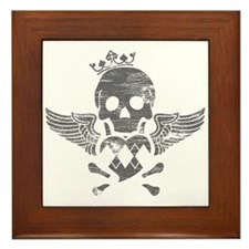 Grey Winged Skull Framed Tile
