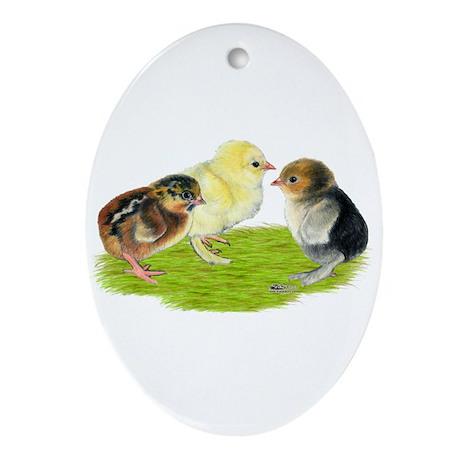 Baby Chicks Trio Ornament (Oval)