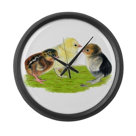 Baby Chicks Trio Large Wall Clock