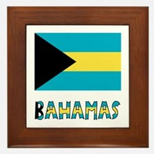 Bahamas Flag Word Framed Tile