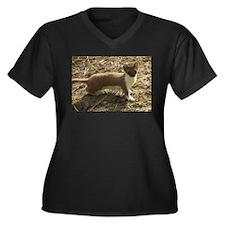 Cute weasel Women's Plus Size V-Neck Dark T-Shirt