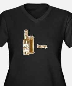 hooray-beer.psd Women's Plus Size V-Neck Dark T-Sh
