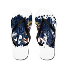 North Dakota Flag Flip Flops
