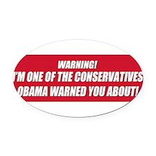 warning a bumper sticker.png Oval Car Magnet