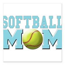 "softball mom(white).png Square Car Magnet 3"" x 3"""
