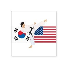 "old tae kwon do(pink).png Square Sticker 3"" x 3"""