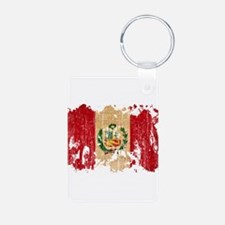 Peru Flag Aluminum Photo Keychain
