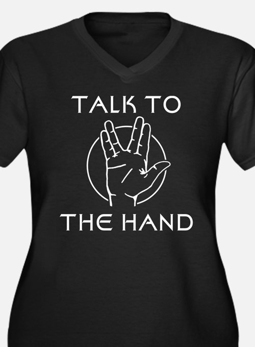 Talk to the Spock Hand Women's Plus Size V-Neck Da