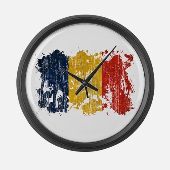 Romania Flag Large Wall Clock