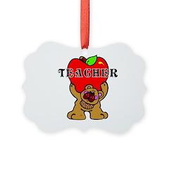 Teachers Apple Bear Ornament