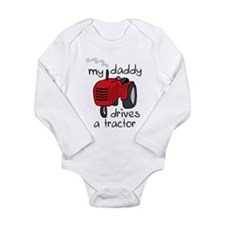 Daddy Drives A Tractor Long Sleeve Infant Bodysuit
