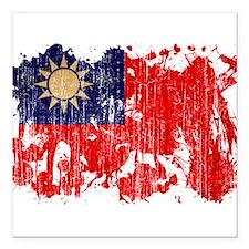 """Taiwan Flag Square Car Magnet 3"""" x 3"""""""