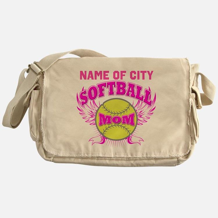 Personalize Softball Mom Messenger Bag