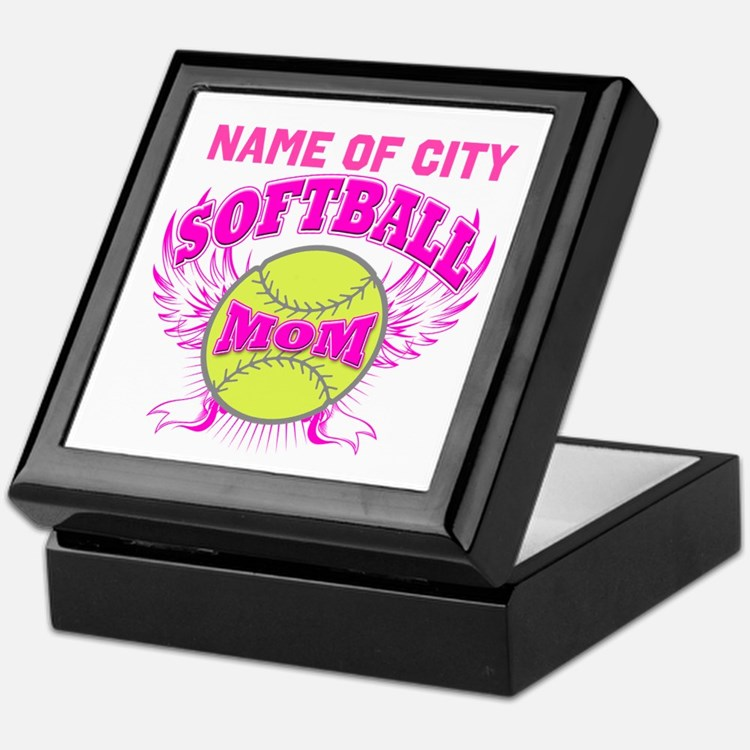 Personalize Softball Mom Keepsake Box
