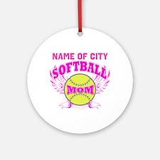 Personalize Softball Mom Ornament (Round)